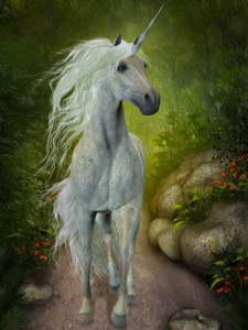 A beautiful white Unicorn trots down a forest path looking for companions.